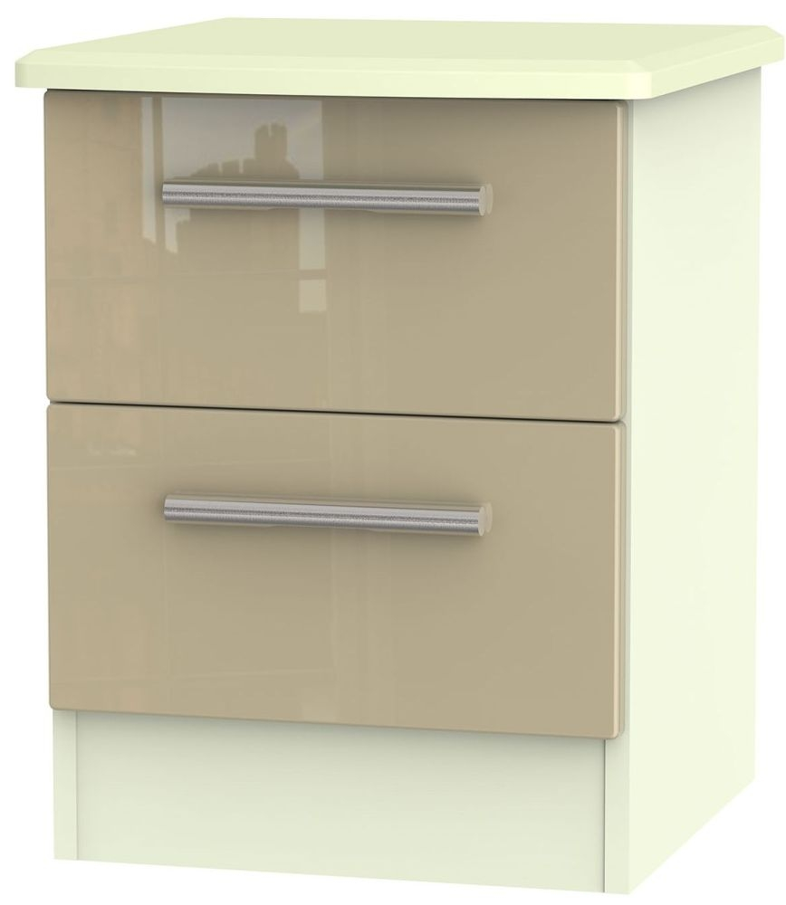 Knightsbridge High Gloss Mushroom and Cream Bedside Cabinet - 2 Drawer Locker