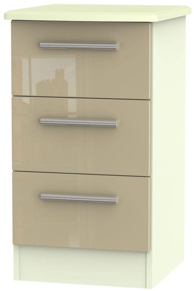 Knightsbridge High Gloss Mushroom and Cream Bedside Cabinet - 3 Drawer Locker