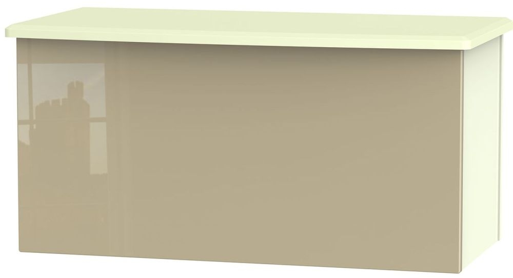 Knightsbridge High Gloss Mushroom and Cream Blanket Box