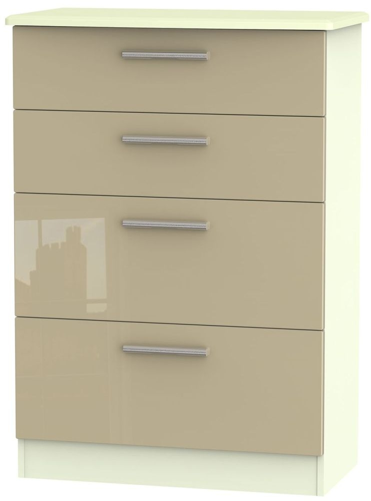 Knightsbridge High Gloss Mushroom and Cream Chest of Drawer - 4 Drawer Deep