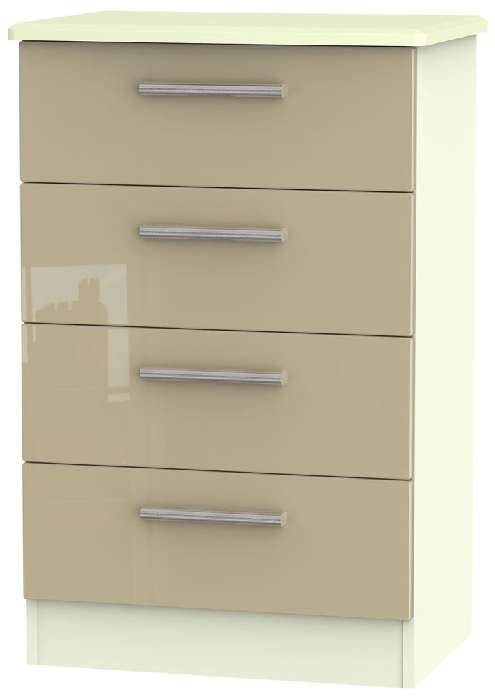 Knightsbridge High Gloss Mushroom and Cream Chest of Drawer - 4 Drawer Midi