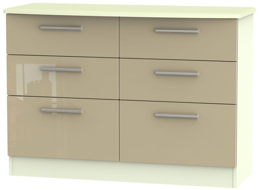 Knightsbridge High Gloss Mushroom and Cream Chest of Drawer - 6 Drawer Midi