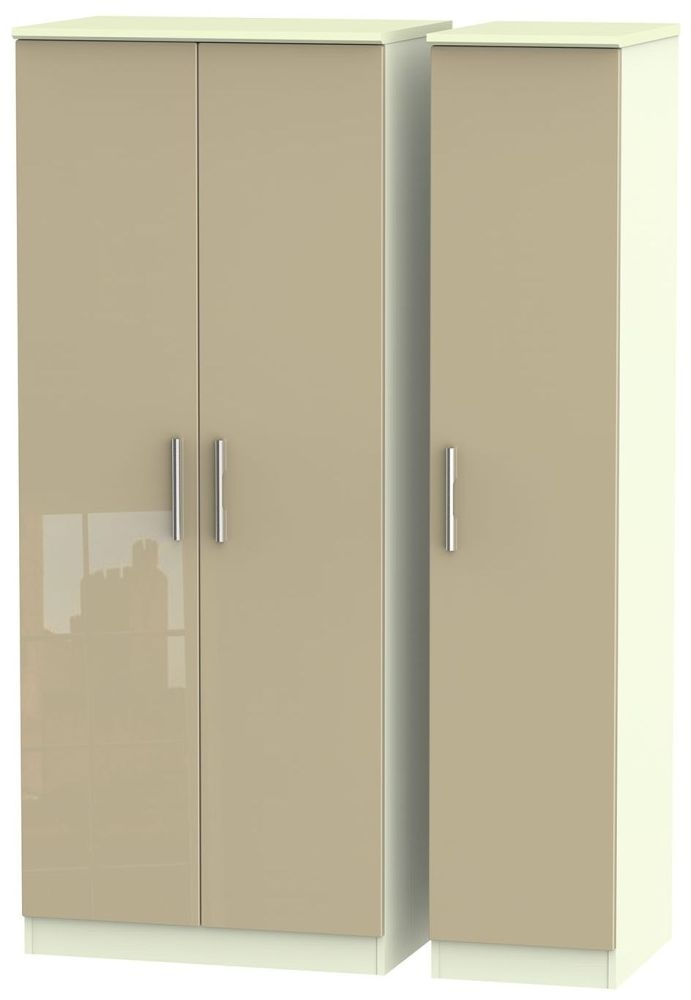 Knightsbridge High Gloss Mushroom and Cream Triple Plain Wardrobe