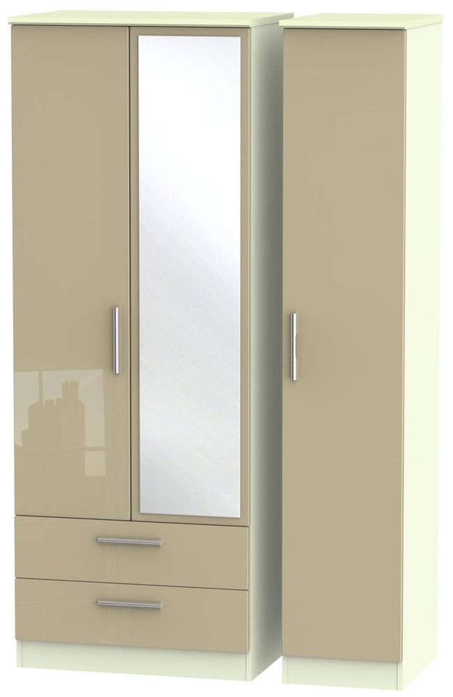Knightsbridge High Gloss Mushroom and Cream Triple Wardrobe - Tall with 2 Drawer and Mirror