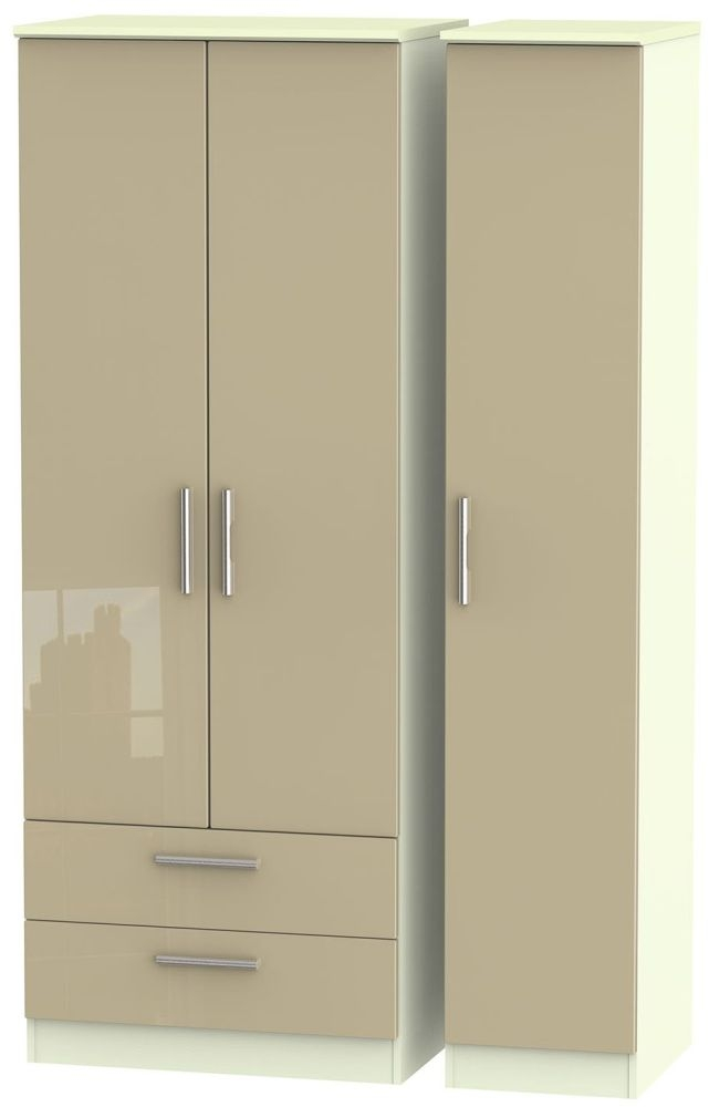 Knightsbridge High Gloss Mushroom and Cream Triple Wardrobe - Tall with 2 Drawer
