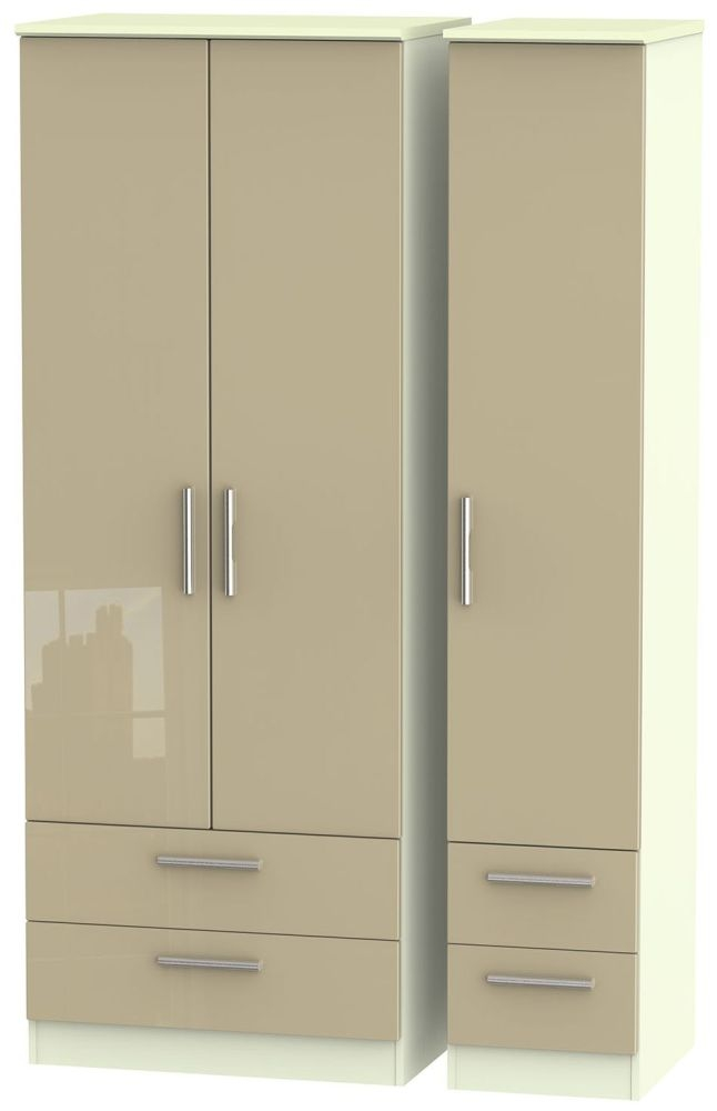 Knightsbridge High Gloss Mushroom and Cream Triple Wardrobe - Tall with Drawer