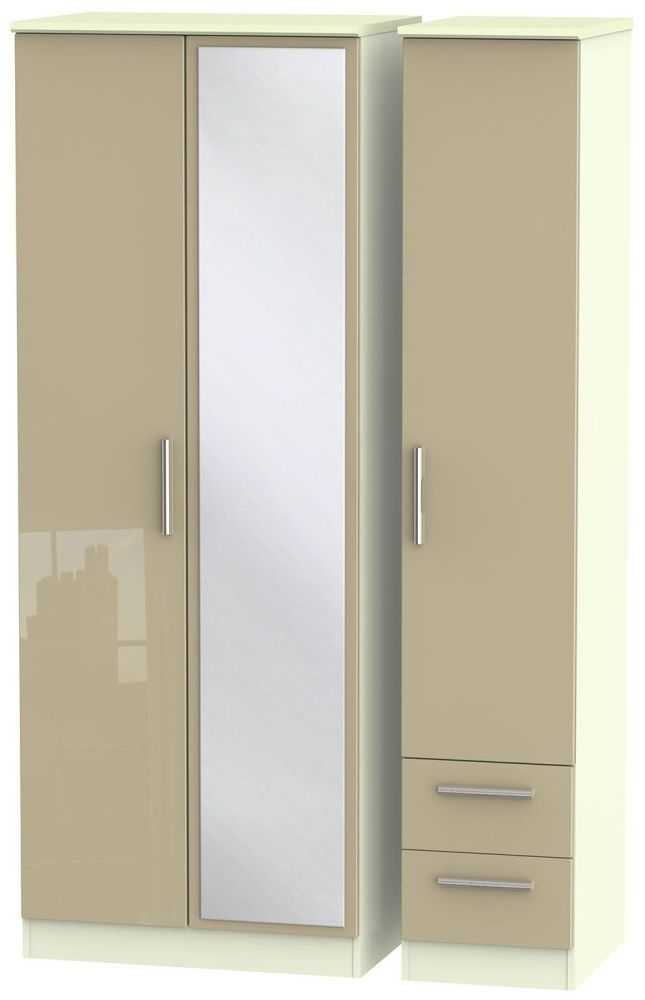 Knightsbridge High Gloss Mushroom and Cream Triple Wardrobe - Tall with Mirror and 2 Drawer