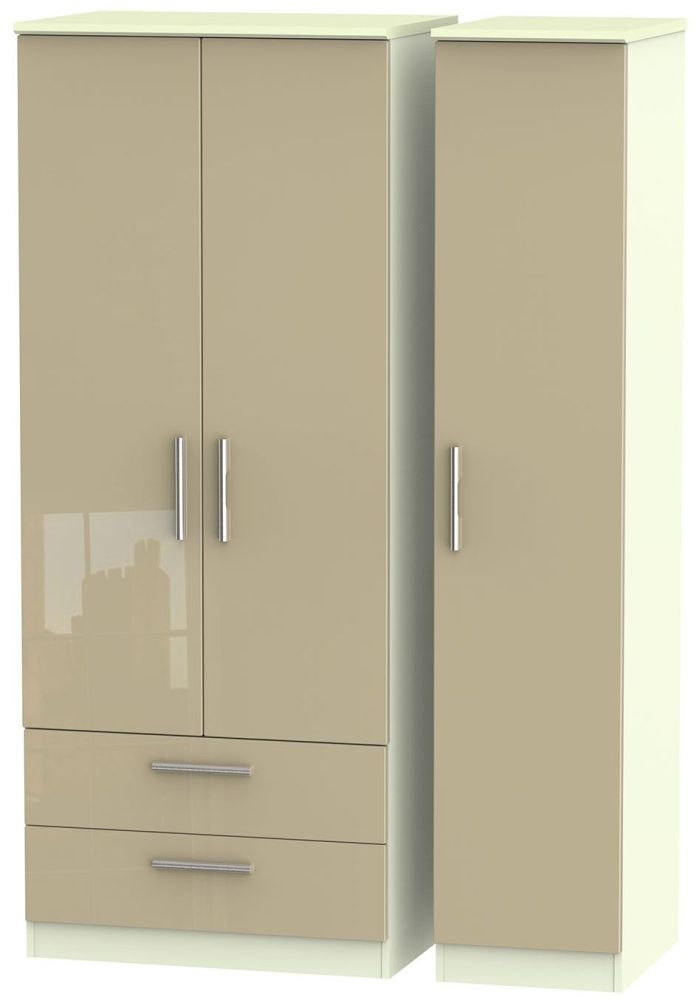 Knightsbridge High Gloss Mushroom and Cream Triple Wardrobe with 2 Drawer