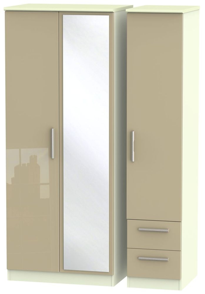 Knightsbridge High Gloss Mushroom and Cream Triple Wardrobe with Mirror and 2 Drawer