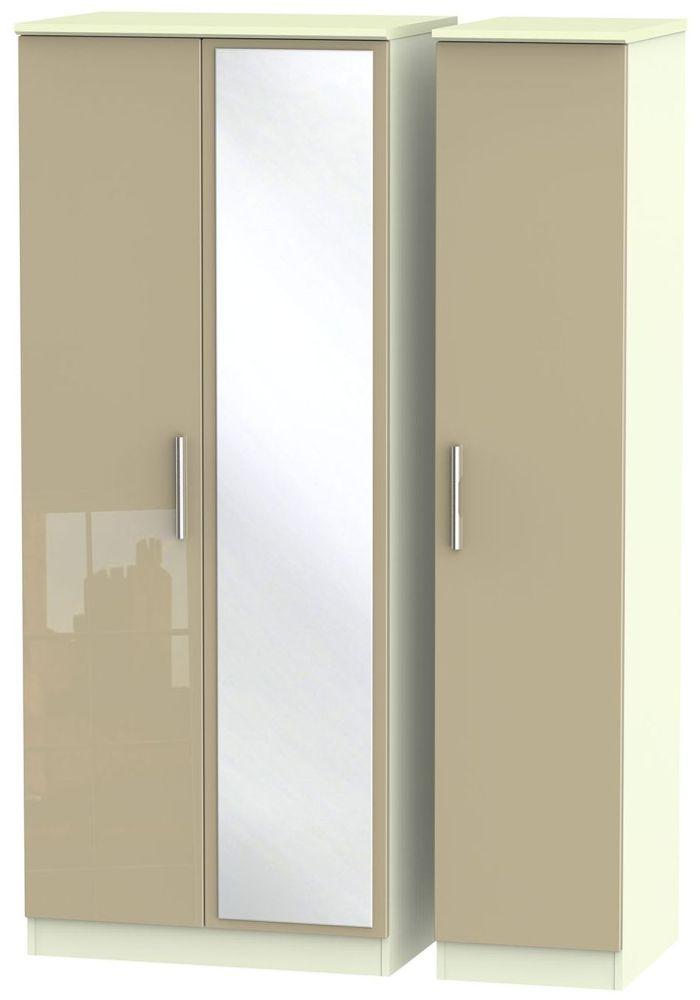 Knightsbridge High Gloss Mushroom and Cream Triple Wardrobe with Mirror