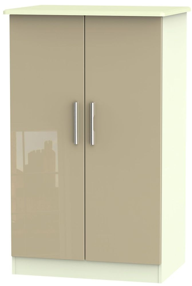 Knightsbridge High Gloss Mushroom and Cream Wardrobe - 2ft 6in Plain Midi