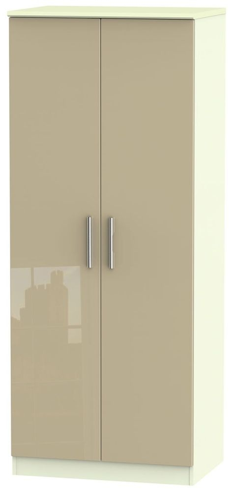Knightsbridge High Gloss Mushroom and Cream Wardrobe - 2ft 6in Plain