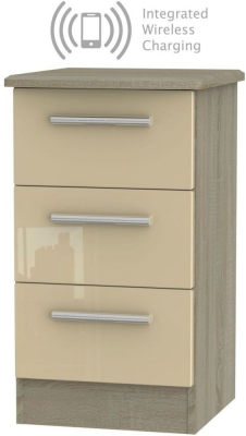 Knightsbridge 3 Drawer Bedside Cabinet with Integrated Wireless Charging - High Gloss Mushroom and Darkolino