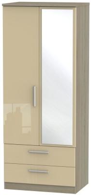 Knightsbridge 2 Door Combi Wardrobe - High Gloss Mushroom and Darkolino