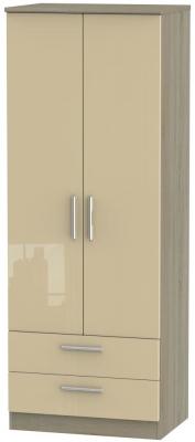 Knightsbridge 2 Door 2 Drawer Tall Wardrobe - High Gloss Mushroom and Darkolino