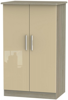 Knightsbridge 2 Door Midi Wardrobe - High Gloss Mushroom and Darkolino