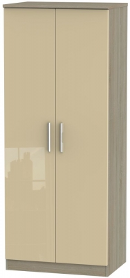 Knightsbridge 2 Door Wardrobe - High Gloss Mushroom and Darkolino