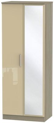 Knightsbridge 2 Door Tall Mirror Wardrobe - High Gloss Mushroom and Darkolino