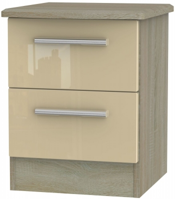 Knightsbridge 2 Drawer Bedside Cabinet - High Gloss Mushroom and Darkolino