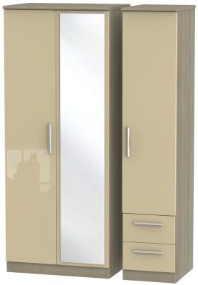 Knightsbridge 3 Door 2 Right Drawer Combi Wardrobe - High Gloss Mushroom and Darkolino