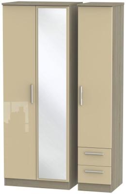 Knightsbridge 3 Door 2 Right Drawer Tall Combi Wardrobe - High Gloss Mushroom and Darkolino