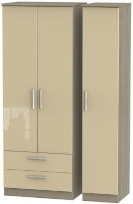 Knightsbridge 3 Door 2 Left Drawer Tall Wardrobe - High Gloss Mushroom and Darkolino