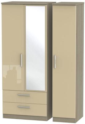 Knightsbridge 3 Door 2 Left Drawer Combi Wardrobe - High Gloss Mushroom and Darkolino