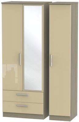 Knightsbridge 3 Door 2 Left Drawer Tall Combi Wardrobe - High Gloss Mushroom and Darkolino