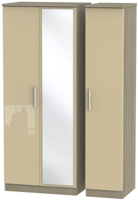 Knightsbridge High Gloss Mushroom and Darkolino 3 Door Mirror Triple Wardrobe