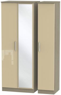 Knightsbridge 3 Door Tall Mirror Wardrobe - High Gloss Mushroom and Darkolino