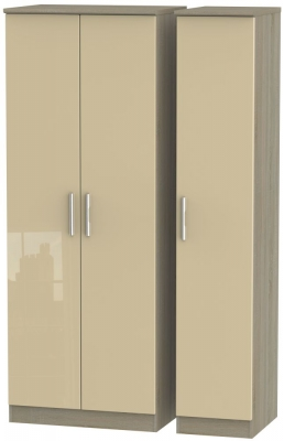 Knightsbridge High Gloss Mushroom and Darkolino 3 Door Tall Plain Triple Wardrobe