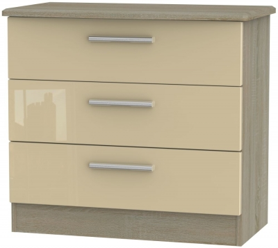 Knightsbridge 3 Drawer Chest - High Gloss Mushroom and Darkolino