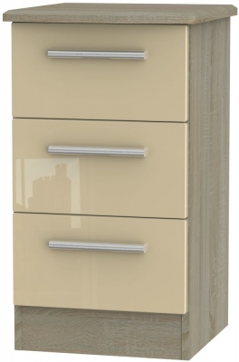 Knightsbridge 3 Drawer Bedside Cabinet - High Gloss Mushroom and Darkolino