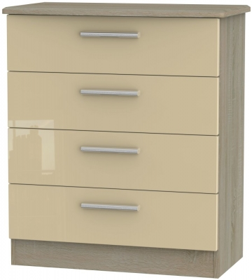 Knightsbridge 4 Drawer Chest - High Gloss Mushroom and Darkolino