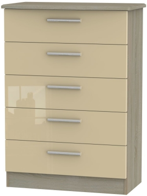 Knightsbridge 5 Drawer Chest - High Gloss Mushroom and Darkolino