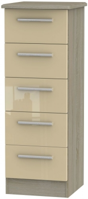 Knightsbridge 5 Drawer Tall Chest - High Gloss Mushroom and Darkolino