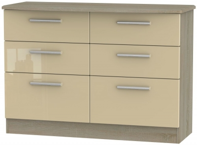 Knightsbridge 6 Drawer Midi Chest - High Gloss Mushroom and Darkolino