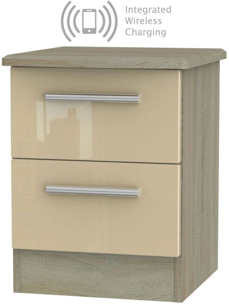 Knightsbridge 2 Drawer Bedside Cabinet with Integrated Wireless Charging - High Gloss Mushroom and Darkolino