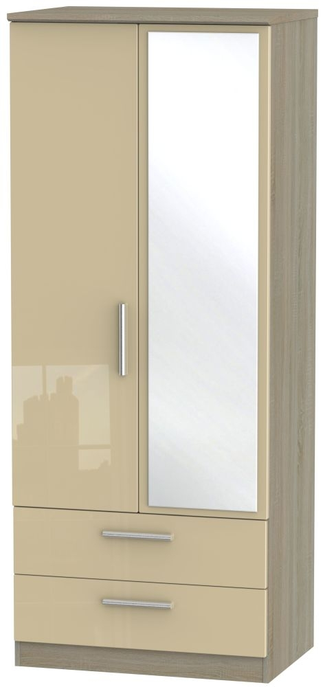 Knightsbridge High Gloss Mushroom and Darkolino 2 Door 2 Drawer Mirror Wardrobe