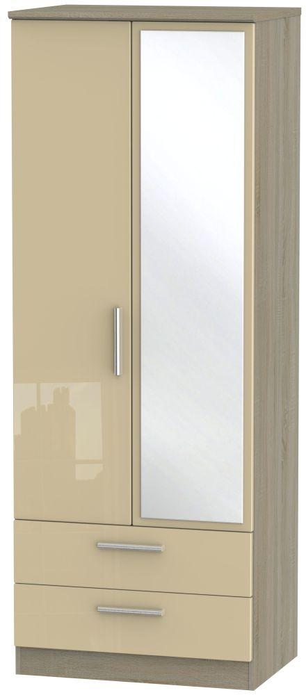 Knightsbridge High Gloss Mushroom and Darkolino 2 Door 2 Drawer Tall Mirror Wardrobe