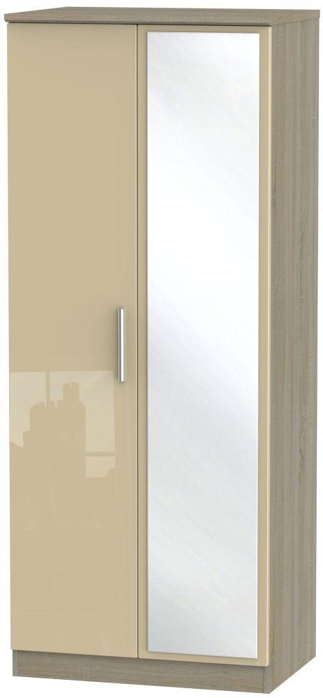 Knightsbridge 2 Door Mirror Wardrobe - High Gloss Mushroom and Darkolino