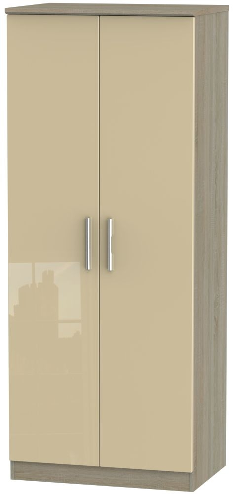 Knightsbridge High Gloss Mushroom and Darkolino 2 Door Plain Wardrobe