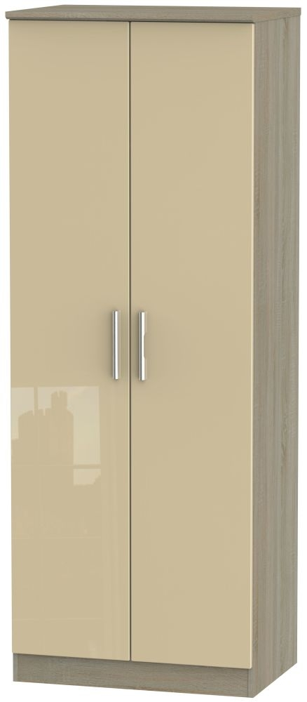 Knightsbridge 2 Door Tall Hanging Wardrobe - High Gloss Mushroom and Darkolino