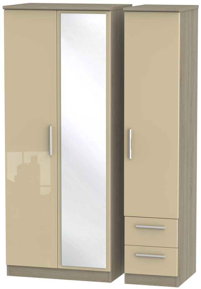 Knightsbridge High Gloss Mushroom and Darkolino 3 Door 2 Drawer Mirror Triple Wardrobe