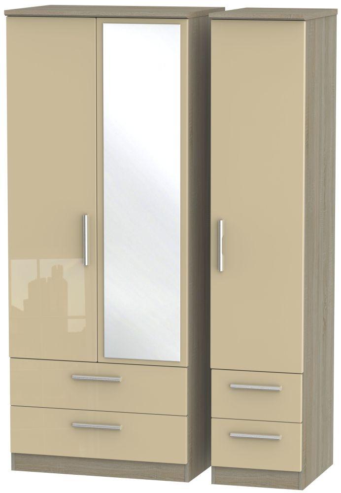 Knightsbridge High Gloss Mushroom and Darkolino 3 Door 4 Drawer Mirror Triple Wardrobe