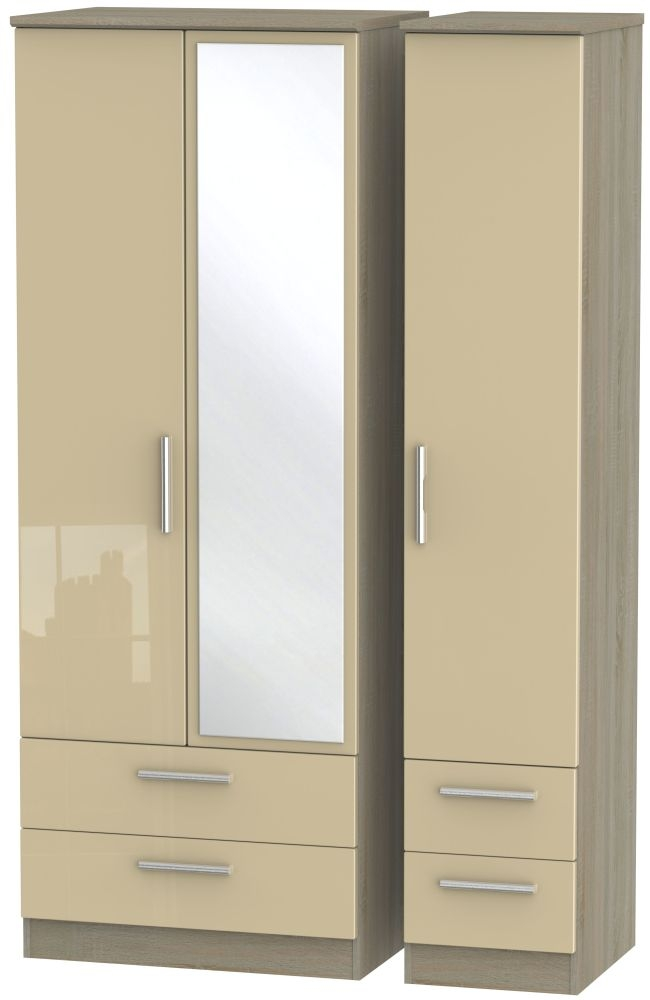 Knightsbridge High Gloss Mushroom and Darkolino 3 Door 4 Drawer Tall Mirror Triple Wardrobe