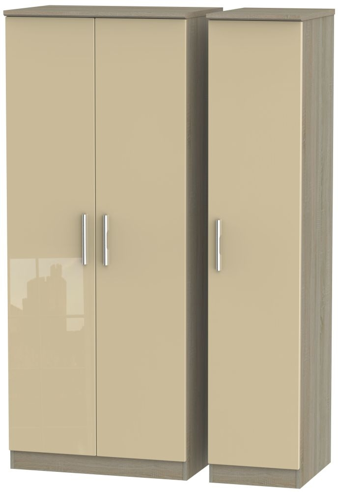 Knightsbridge High Gloss Mushroom and Darkolino 3 Door Plain Triple Wardrobe