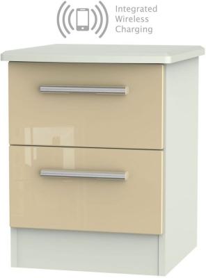 Knightsbridge 2 Drawer Bedside Cabinet with Integrated Wireless Charging - High Gloss Mushroom and Kaschmir Matt