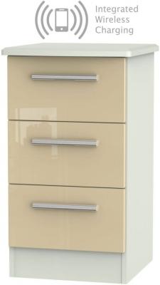 Knightsbridge 3 Drawer Bedside Cabinet with Integrated Wireless Charging - High Gloss Mushroom and Kaschmir Matt