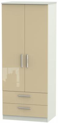 Knightsbridge High Gloss Mushroom and Kaschmir Matt 2 Door 2 Drawer Wardrobe
